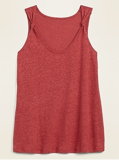 Linen-Blend Jersey Knotted-Strap Tank Top for Women