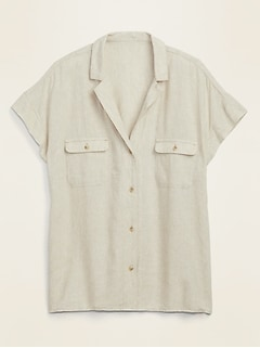 Linen-Blend Utility Short-Sleeve Shirt for Women