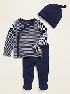 Unisex Kimono Top, Leggings & Beanie 3-Piece Layette Set for Baby