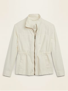 Linen-Blend Utility Zip Jacket for Women