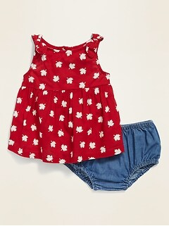 Canadiana-Print Top & Chambray Bloomers Set for Baby