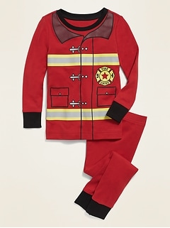 Unisex Firefighter Costume Pajama Set for Toddler & Baby