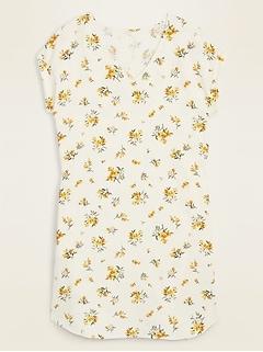 V-Neck Button-Back Shift Dress for Women