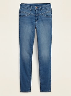 High-Waisted Seamed-Yoke Rockstar Super Skinny Jeans for Women