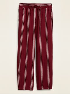 Mid-Rise Striped Linen-Blend Wide-Leg Pants for Women