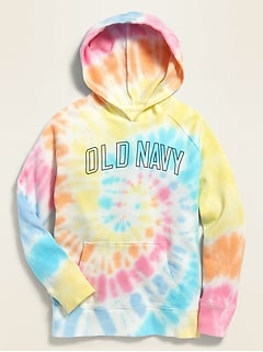 Specially-Dyed Logo-Graphic French Terry Pullover Hoodie for Girls