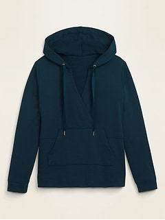 French Terry Cross-Front Pullover Plus-Size Hoodie