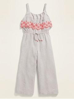Ruffled Sleeveless Linen-Blend Jumpsuit for Girls