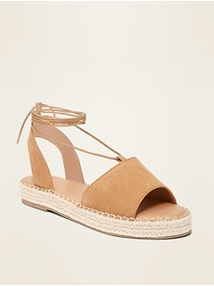 Faux-Suede Lace-Up Espadrille Flatform Sandals for Women