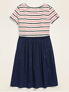 Mixed-Fabric Dress for Girls