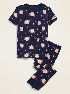 Owl-Print Pajama Set for Toddler & Baby