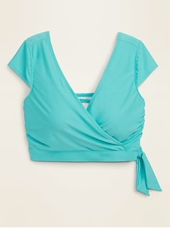 Wrap-Front Cap-Sleeve Plus-Size Swim Top