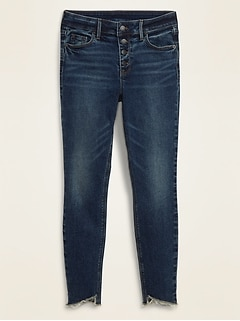Mid-Rise Button-Fly Rockstar Super Skinny Cut-Off Ankle Jeans for Women