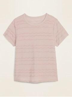 T-shirt Tout-aller texturé à rayures avec rayures ondulées pour femme