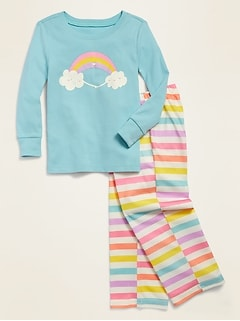 Loose-Fit Rainbow Graphic Pajama Set for Toddler Girls & Baby