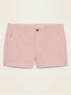 Mid-Rise Everyday Eyelet Shorts for Women -- 3.5-inch inseam