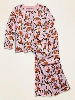 Loose-Fit Sloth-Print Pajama Set for Toddler Girls & Baby