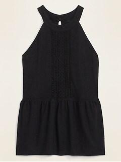 Linen-Blend Jersey Lace-Trim Sleeveless Top for Women