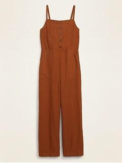 Button-Front Linen-Blend Cami Jumpsuit for Women