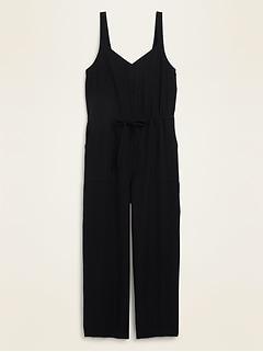 Soft-Woven Drawstring-Waist V-Neck Jumpsuit for Women