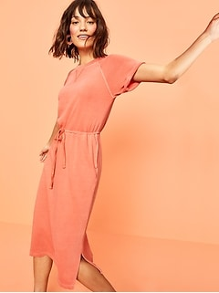 Garment-Dyed French Terry Cinch-Tie Midi Dress for Women