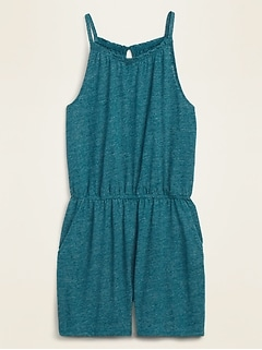 Sleeveless Linen-Blend Jersey Romper for Women