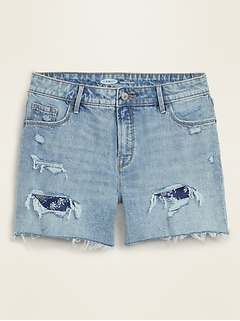 High-Waisted Distressed Bandanna-Patch Cut-Off Jean Shorts for Women -- 2.5-inch inseam