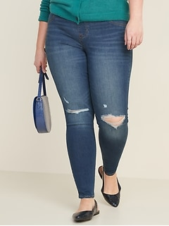 Mid-Rise Distressed Rockstar Jeggings for Women