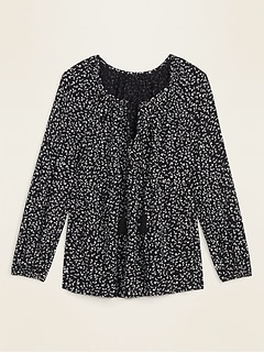 Printed Tie-Neck Swing Blouse for Women