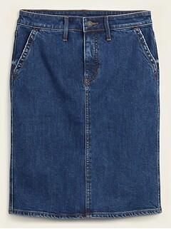 High-Waisted Midi Jean Skirt for Women
