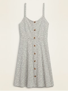 Striped Slub-Knit Button-Front Cami Fit & Flare Dress for Women