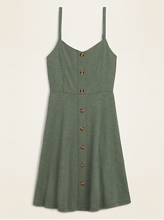 Slub-Knit Button-Front Cami Fit & Flare Dress for Women