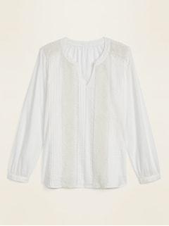 Pintucked Split-Neck Lace-Trim Blouse for Women