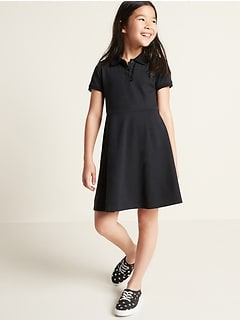 Pique-Knit Uniform Polo Short-Sleeve Dress for Girls