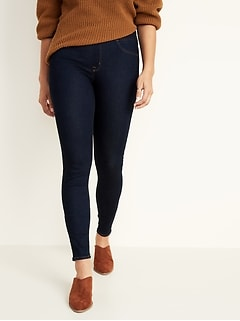 Mid-Rise Dark-Wash Rockstar Jeggings for Women