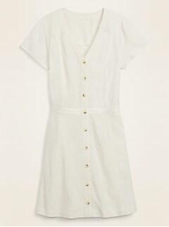 Fit & Flare Button-Front Linen-Blend Mini Dress for Women