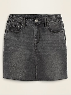 High-Waisted Raw-Hem Faded-Black Jean Skirt for Women