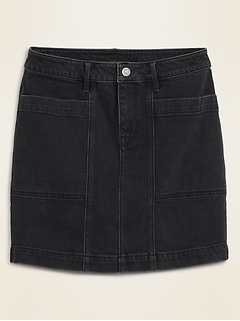High-Waisted Utility-Pocket Black Jean Skirt for Women