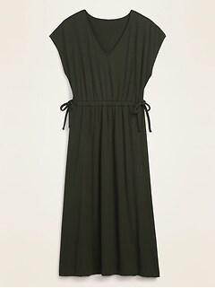 Waist-Defined Dolman-Sleeve Rib-Knit Midi Dress for Women