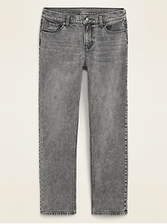 Mid-Rise Boyfriend Straight Gray Jeans for Women