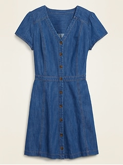 Fit & Flare Button-Front Jean Mini Dress for Women