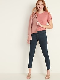 Mid-Rise Dark-Wash Rockstar Super Skinny Jeans for Women