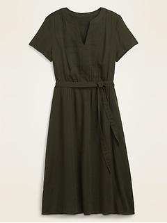 Waist-Defined Tie-Belt Midi Dress for Women