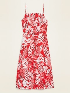 Linen-Blend Button-Front Printed Cami Midi Dress for Women