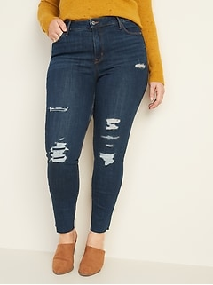 High-Waisted Distressed Rockstar Super Skinny Ankle Jeans for Women