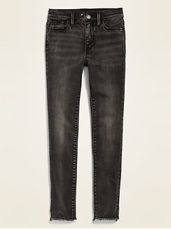 High-Waisted Built-In Tough Black-Wash Rockstar Jeggings for Girls