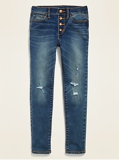 High-Waisted Built-In Tough Button-Fly Distressed Rockstar Super Skinny Jeggings for Girls
