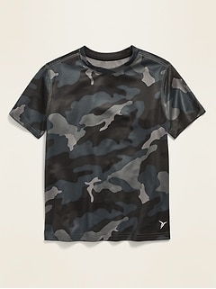 Go-Dry Patterned Mesh Performance Tee for Boys
