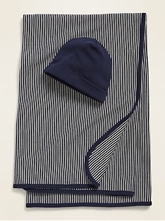 Unisex Swaddle Blanket & Beanie Hat 2-Piece Set for Baby