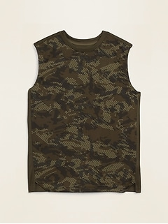 Go-Dry Printed Split-Hem Tank Top for Boys